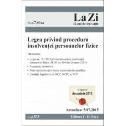 Legea privind procedura insolventei persoanelor fizice. Cod 575. Actualizat la 5.07.2015 -