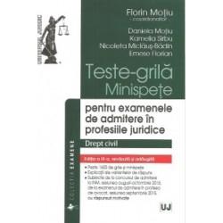 Teste-grila, Minispete pentru examenele de admitere in profesiile juridice, Drept civil - Florin Motiu, Daniela Motiu