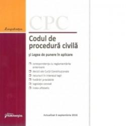 Codul de procedura civila si Legea de punere in aplicare. Actualizat 6 septembrie 2016 -
