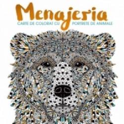Menajeria. Carte de colorat cu portrete de animale -
