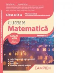 Culegere de matematica. Clasa a IX-a. Semestrul I. Filiera teoretica, specializarea matematica-informatica - Marius Burtea, Geo