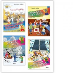 Set 4 caiete Aventura invatarii: Aventuri la inceput de an scolar, Aventuri la joaca, Aventuri cu daruri, Aventuri printre stel